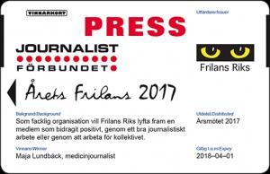 2017 Årets frilans presskort skärm